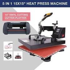 """14"""" Cutting Vinyl Cutter Plotter W/ 3 Blades + 15""""x15"""" 5 in 1 Heat Press Machine"""