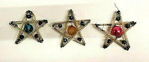 Antique Vintage Czech Beaded Mercury Glass Star Christmas Ornaments (3) *READ*