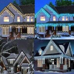 LED Icicle Snowing Chaser Lights Christmas Timer & Memory Indoor / Outdoor Xmas