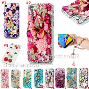 NEW Bling Soft TPU Back phone Cover Case & wrist Crystals flowers strap For Sony
