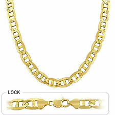 "126.70gm 14k Yellow Gold Men's Mariner Concave Heavy Chain Necklace 30"" 10.50mm"