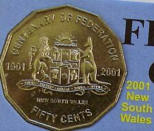 **2001 New South Wales 50 cent UNCIRC. Centenary of Federation coin from set!