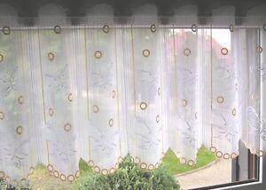 Scheibengardine nach Maß H: 45 cm Bistrogardine Schmetterlinge Plauener Spitze