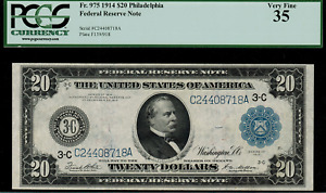 1914 $20 Federal Reserve Note Philadelphia FR-975 - Graded PCGS 35 Very Fine