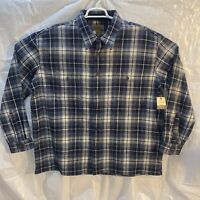 St John's Bay NWT Men's Plaid Flannel Long Sleeve Shirt XXL 2XL Blue And White