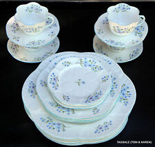 20 Pce Set SHELLEY fine bone china BLUE ROCK dainty shape 4 X 5 Piece Setting