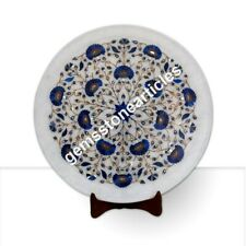 "14"" Marble White Round Dining Plate Lapis Lazuli Inlay Floral Art Kitchen Decor"