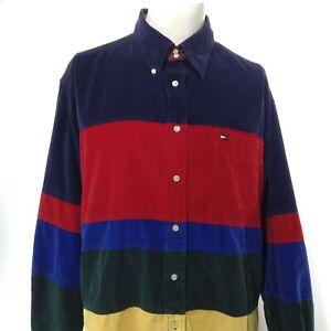 VTG 90's TOMMY HILFIGER Long Sleeve Corduroy Colorblock Button Up Shirt Size XL