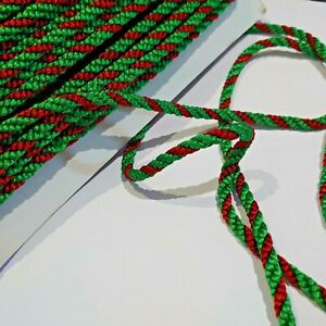 2 metres Christmas red/green satin twist cord gimp sewing braid trim 6mm wide