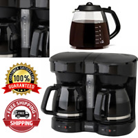 Dual Carafe Coffee Maker 2 Full 12 Cup Pot Large Double Drip Brewer Commercial