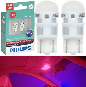 Philips Ultinon LED Light 168 Red Two Bulbs Interior Dome Replacement Upgrade OE