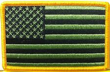 USA Flag BLACK & GREEN  Military Patch With VELCRO® Brand Fastener Gold Border