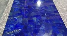 18 x 18 Inches Marble Coffee Table Top Blue End Table with Lapis Lazuli Stones