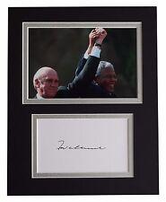 FW de Klerk Signed Autograph 10x8 photo display Nelson Mandela AFTAL & COA