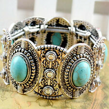 Chic Boho Womens Retro Vintage Natural Turquoise Tibetan Silver Bracelet Cuff ZY