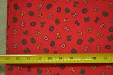"""By-the-Half-Yard, 42"""" Wide, Abc's on Red 14-Wale Corduroy, M3722"""