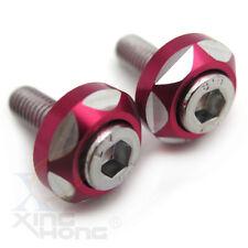 6mm Thread Dia 2Pcs Red Bolts Screws Car Motor Decorative License Plate Bolts
