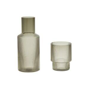 Carafe And Tumbler Set Ribbed Smoke Grey Glass Water Jug Cup Glassware Barware