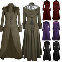 Women Vintage Tailcoat Jacket Steampunk Bandage Cape Irregular Outwear Long Coat