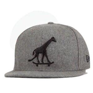 Rare LRG True Heads Giraffe Skateboard Hat Wool Blend Gray New Era Fitted 7 3/8