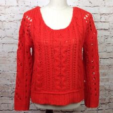 Free People Women's Long Sleeve Sweater XS Mohair Winter Warm Cable Knit Red