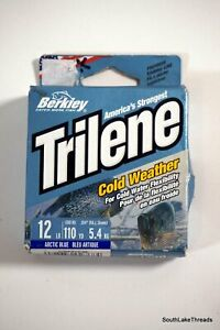 Trilene cold weather 12lb 110yd ice fishing line Arctic Blue New Sealed Berkley