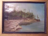 MAINE COAST OCEAN SEASCAPE c.1933 ORIGINAL OIL PAINTING ON CANVAS - Antique Art