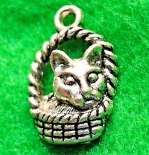 20 Pcs. Tibetan Silver CAT In A Basket Charms Pendants Earring Drops Finding C08