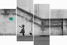 Super Extra Large Teal Balloon Banksy Multi 4 Panel Set Canvas Picture Wall Art