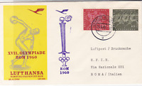 German Lufthansa hamburg to rome 1960 air mail fight stamps cover ref 19757