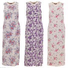 Cotton Blend Crew Neck Regular Sleeveless Dresses for Women