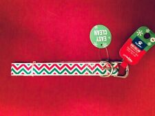 Top Paw Red/Green Chevron Striped Buckle Dog Collar, Silicone, M, 14-18 in, NEW