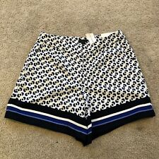 NWT ann Taylor Factory Womens Size 2 White Black Blue The Drapey Short