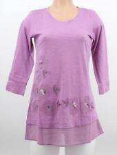 LOGO by Lori Goldstein Embroidered Embellished Top Blouse Sheer Hem Boho XXS NEW