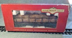 BACHMANN G SCALE 98470 'G' BOGIE FLAT CAR WITH LOGS - LOW STARTING PRICE!