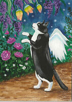 ACEO TUXEDO BLACK CAT PRINT OF PAINTING RAINBOW FLOWERS RYTA FAIRY ANGEL SPRING
