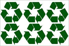 6 x RECYCLE RECYCLING LOGO SELF ADHESIVE VINYL STICKERS large