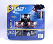 3 Pack 10 LED Ultra Bright Headlamps Head Torch Light - Free Duracell Batteries