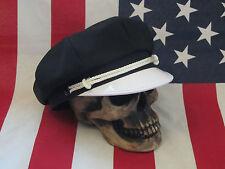 VINTAGE OLD SCHOOL STYLE BIKER ROAD CAPTAIN'S HAT/CAP - PLAIN BASIC HAT !!