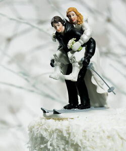 Winter Skiing Couple Porcelain Wedding Cake Topper