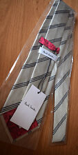 Paul Smith TAUPE Cravate Avec Noire Bande PRINCIPAL 100% Soie 8cm Made in Italy