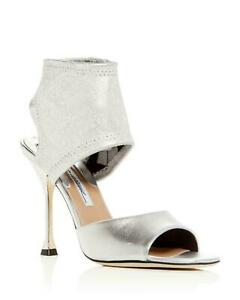 Brian Atwood STELLA Pumps Silver Leather open Toe HIgh Heel Sandal