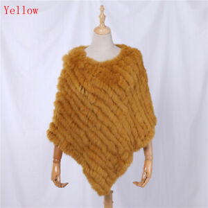 Lady Real Rabbit Fur Poncho Women Fashion Knitted Shawl Natural Fur Top Pullover