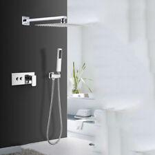Chrome Ultra Thin 8inch Shower Head & Handheld Spray Mixer Bathroom Valve Unit
