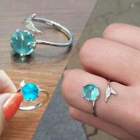 verstellbare größe meerjungfrau blase ringe blue crystal silber - farbe