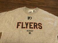 Vintage Philadelphia Flyers NHL CCM Center Ice Authentic Medium Gray T Shirt