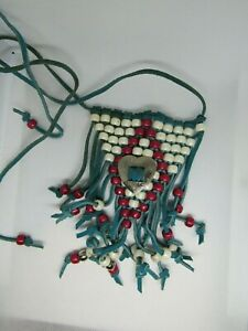 Handmade Boho Beaded Necklace Suede Fringed Blue Red tie closure