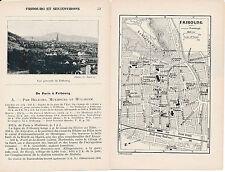 Freiburg Kaiserstuhl 1923 kl. orig. Stadtplan, Karte + frz. Reisef. (16 S.)