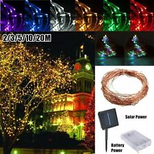 6/10/15/20m Solar Powered Warm White Copper Wire Outdoor String Fairy Light DG&@