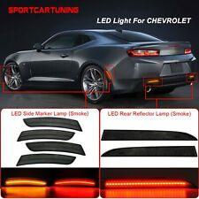 LED Rear Reflector Bumper Light + Side Marker Lamp Smoked For Chevy Camaro 16-20
